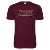 Next Level SoftStyle Maroon T Shirt-Shaw University Stacked Logo