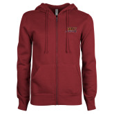 ENZA Ladies Maroon Fleece Full Zip Hoodie-Shaw University Stacked Logo