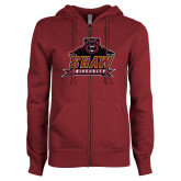 ENZA Ladies Maroon Fleece Full Zip Hoodie-Shaw University Primary