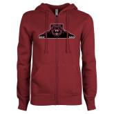 ENZA Ladies Maroon Fleece Full Zip Hoodie-Bear Logo