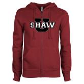 ENZA Ladies Maroon Fleece Full Zip Hoodie-Shaw U Logo