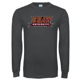 Charcoal Long Sleeve T Shirt-Shaw University Stacked Logo