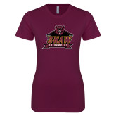 Next Level Ladies SoftStyle Junior Fitted Maroon Tee-Shaw University Primary