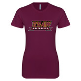 Next Level Ladies SoftStyle Junior Fitted Maroon Tee-Shaw University Stacked Logo