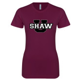 Next Level Ladies SoftStyle Junior Fitted Maroon Tee-Shaw U Logo