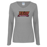 Ladies Grey Long Sleeve V Neck Tee-Shaw University Stacked Logo