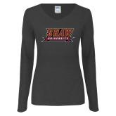 Ladies Dark Heather Long Sleeve V Neck Tee-Shaw University Stacked Logo