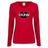 Ladies Cardinal Long Sleeve V Neck Tee-Shaw U