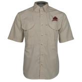 Khaki Short Sleeve Performance Fishing Shirt-Shaw University Primary