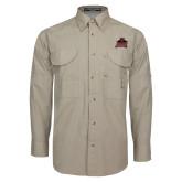 Khaki Long Sleeve Performance Fishing Shirt-Shaw University Primary