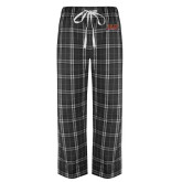 Black/Grey Flannel Pajama Pant-Shaw University Stacked Logo