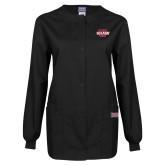 Ladies Black Snap Front Warm Up Scrub Jacket-Shaw U