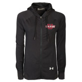 Ladies Under Armour Black Varsity Full Zip Hoodie-Shaw U
