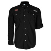 Columbia Bahama II Black Long Sleeve Shirt-Shaw University Stacked Logo