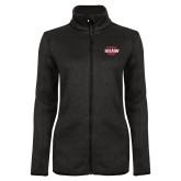 Black Heather Ladies Fleece Jacket-Shaw U