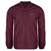 V Neck Maroon Raglan Windshirt-Shaw University Primary