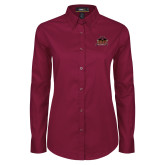 Ladies Maroon Twill Button Down Long Sleeve-Shaw University Primary