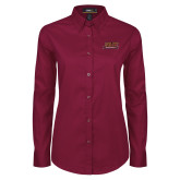 Ladies Maroon Twill Button Down Long Sleeve-Shaw University Stacked Logo
