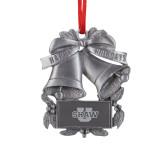 Pewter Holiday Bells Ornament-Shaw U Logo Engraved