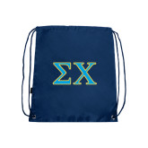 Nylon Navy Drawstring Backpack-Sigma Chi Greek Letters
