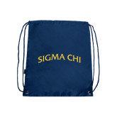 Nylon Navy Drawstring Backpack-Arched Sigma Chi