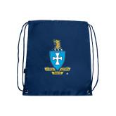 Nylon Navy Drawstring Backpack-Crest