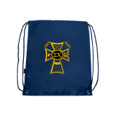 Nylon Navy Drawstring Backpack-Badge