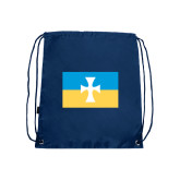Nylon Navy Drawstring Backpack-Flag