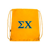 Gold Drawstring Backpack-Sigma Chi Greek Letters
