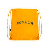 Nylon Gold Drawstring Backpack-Arched Sigma Chi