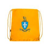 Nylon Gold Drawstring Backpack-Crest