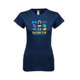 Next Level Ladies SoftStyle Junior Fitted Navy Tee-Talk Derby To Me Icons Version, Personalized