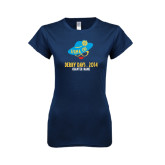 Next Level Ladies SoftStyle Junior Fitted Navy Tee-Derby Days Hat & Glasses, Personalized