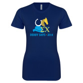 Next Level Ladies SoftStyle Junior Fitted Navy Tee-Derby Days Hat Horse Shoe & Horse Head, Personalized
