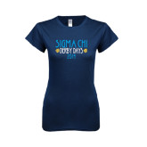 Next Level Ladies SoftStyle Junior Fitted Navy Tee-Sigma Chi Derby Days, Personalized
