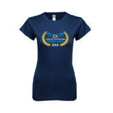 Next Level Ladies SoftStyle Junior Fitted Navy Tee-Derby Days Icons w/Leaves, Personalized