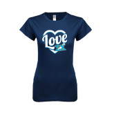 Next Level Ladies SoftStyle Junior Fitted Navy Tee-Love In Heart
