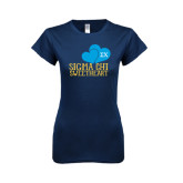 Next Level Ladies SoftStyle Junior Fitted Navy Tee-Sigma Chi Sweetheart w/ Double Hearts