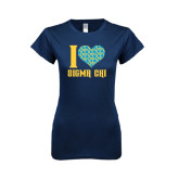 Next Level Ladies SoftStyle Junior Fitted Navy Tee-I Heart Sigma Chi