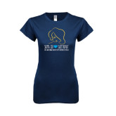 Next Level Ladies SoftStyle Junior Fitted Navy Tee-Sigma Chi Sweetheart w/ Girl
