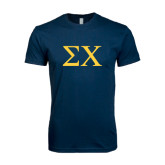 Next Level SoftStyle Navy T Shirt-Sigma Chi Greek Letters