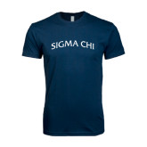 Next Level SoftStyle Navy T Shirt-Arched Sigma Chi