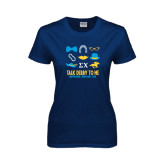 Ladies Navy T Shirt-Talk Derby To Me Icons Version, Personalized