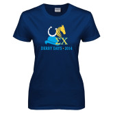 Ladies Navy T Shirt-Derby Days Hat Horse Shoe & Horse Head, Personalized
