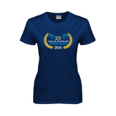 Ladies Navy T Shirt-Derby Days Icons w/Leaves, Personalized