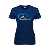 Ladies Navy T Shirt-Script Sweetheart w/ Heart
