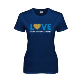 Ladies Navy T Shirt-Love Sigma Chi Sweetheart Lines