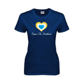 Ladies Navy T Shirt-Hearts Sigma Chi Sweetheart