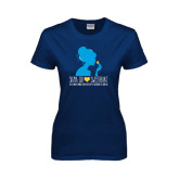 Ladies Navy T Shirt-Sigma Chi Sweetheart - Girl w/ Flower