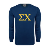 Navy Long Sleeve T Shirt-Sigma Chi Greek Letters